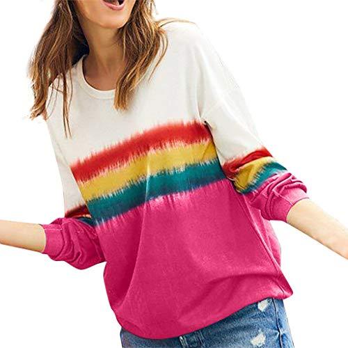 ❤ Inawayls❤ Damen Langarm T-Shirt Beiläufig Farbverlauf Shirt Frühling/Winter/Herbst Lose Shirt Tee 7 Farbe (Daphne Kostüm Schuhe)