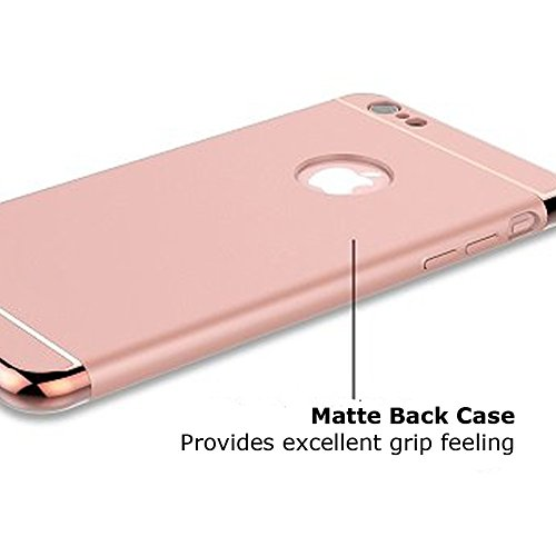 iPhone 7 Plus Case, Ultra Thin 3 In 1 Hard PC Case Cover Coated Electroplating Frame with Unsmooth Matte Surface Slim Fit Three-Piece Suit for iPhone 7 Plus [Red] Rose Gold