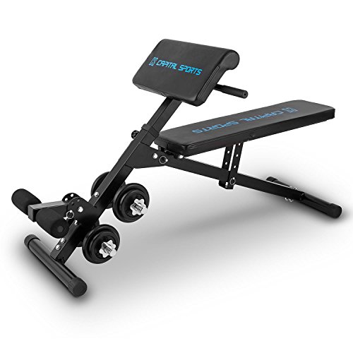 Capital Sports Varient Curl Hantel Trainingsbank Sit-Up-Bank Curlbank Fitnessbank mit 20 kg Kurz-Hantel-Set (verstellbare Fuß-Liege- und Sitzfläche, klappbar, bis 160kg) schwarz