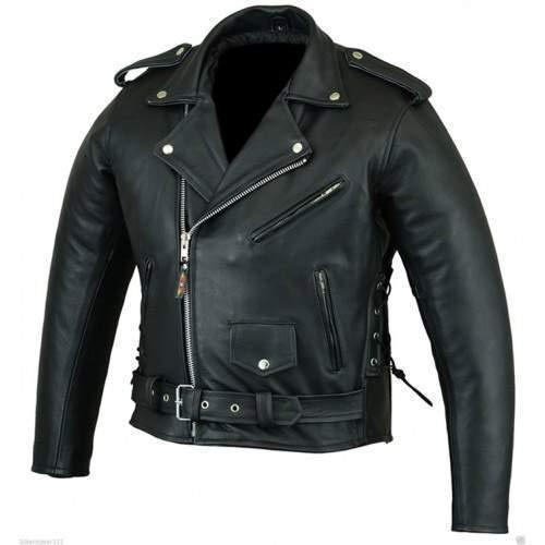 Bikers Gear Australian Stone washed in pelle bovina classico Brando giacca da moto, nero, taglia L