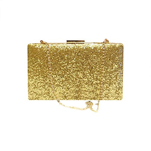 SoonerQuicker Brieftasche Damen Frauen Abend Umschlag Handtasche Party Sparkly Clutch Geldbörse Schulter Cross Bag Gold One Size
