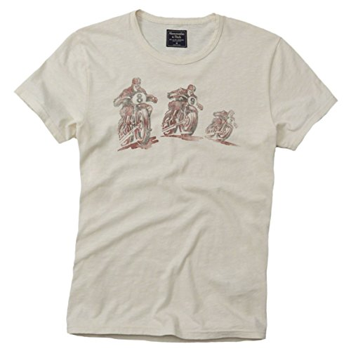 Abercrombie & Fitch -  T-shirt - T-shirt  - Collo a U  - Maniche corte  - Uomo Cream Large