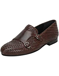 BARESKIN BROWN LEATHER FULL WEAVED WITH DOUBLE MONK STRAP SLIP-ON SHOES FOR MEN