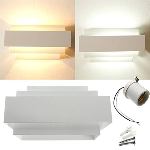 SOLMORE Moderno E27 curvo bulbo Supporto della lampada da parete coperta up down curvato bianco lampada corridoio scala per 110V 220V Bianco
