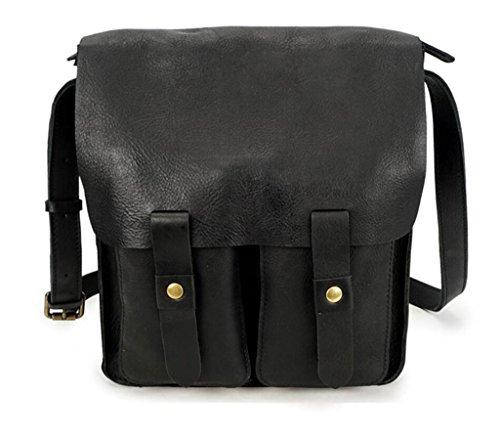SHFANG Herren Schulter Umhängetasche, Leder retro Umhängetasche, Arbeit / Reisen / Einkaufen, mehrere Taschen , shiny black shiny black