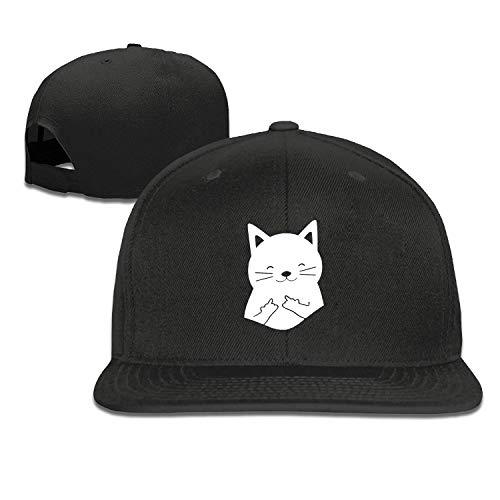 EANTE Baseball-Kappe für Herren, lustige Tasche, Katze, Mittelfinger, modisches Geschenk, Snapback, einfarbig, Schwarz