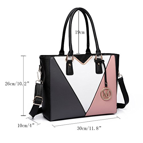Miss LuLu Schultertasche Damen Ledertasche V-Form Farbe-Verbindung Shopper Handtasche PU Leder Elegant Groß LG6632-Schwarz