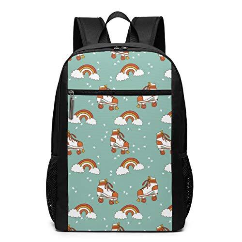 GgDupp Rucksack für Rollschuhe, Retro, Regenbogenfarben, 17 Zoll Laptoptasche, Polyester, Schwarz, Einheitsgröße