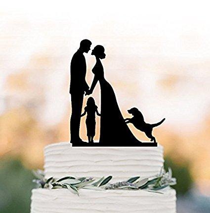 Hochzeitstorte Topper Braut und Bräutigam und Kind, Familien-Silhouette Hochzeitstorte Tortenaufsatz und Hund und Mädchen, Jahrestag