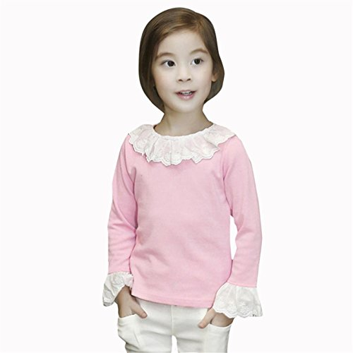 Sunnywill Baby Jungen Mädchen Ruffled T-Shirts Lace Tops Bluse Kleidung (6 jahr, Rosa) (Lace Ruffled Top)