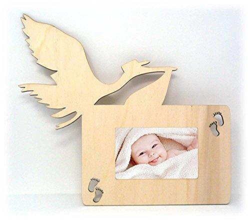 Storch Foto-Rahmen Wand Bilder-Rahmen Tür-Schild für das Wohnzimmer Baby-Zimmer für Mann Frau Mädchen und Junge Babys Pullerparty – Auch zum selbst bemalen geeignet