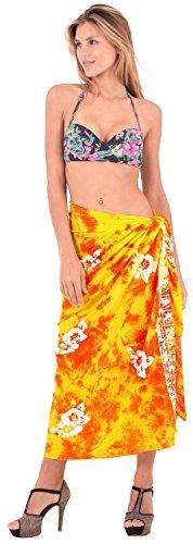 La gonna bikini costumi da bagno Leela morbido insabbiamento rayon involucro di ibisco sarong 78x43inch Gialla Di Cyber