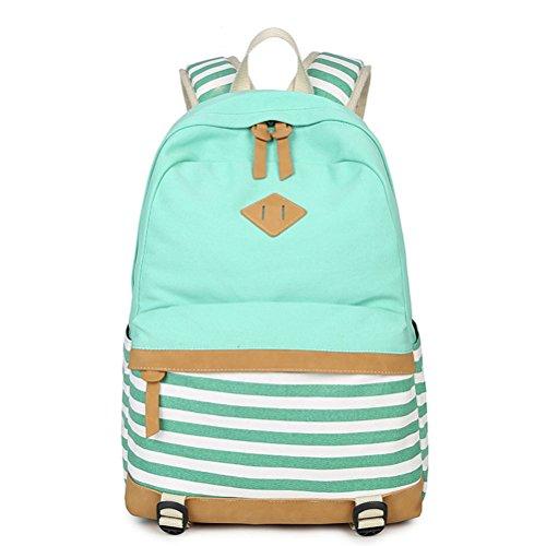 Honeymall Fashion Mädchen Schulrucksack Damen Canvas Rucksack Teenager Baumwollstoff Streifen Schultasche Daypacks(Grün)