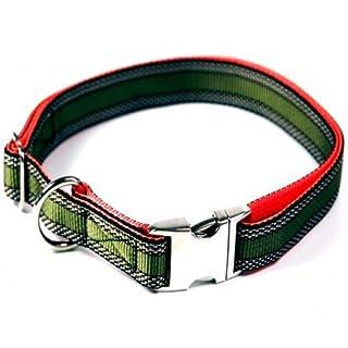 Hundehalsband, Alu-Max®, Soft Nylon, Khaki mit Muster, 25-35cm, 15mm