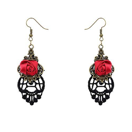 Da.Wa Damen Schmuck Retro Style Lace Baumeln Rote Rose Blume Ohrring Für Frauen