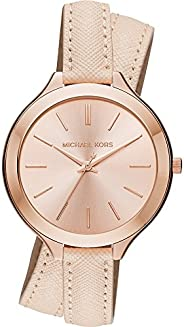 Michael Kors Slim Runway Women's Rose Gold Dial Leather Wrap Band Watch - MK