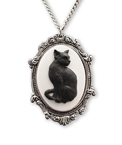 Schwarze Katze Cameo in Silber Zinn Frame Gothic Anhänger Halskette
