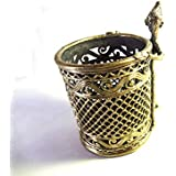 STE Dhokra Art-Brass Round Pen Stand With Tribal-Home-Table Décor Perfect For Gift 11 X 8.5 Cm