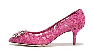 uBeauty Damen Stilettos Hell Spitzen Pumps Luxus High Heels Hochzeitsschuhe Spitze Zehen Slip on Sandalen Hell Rot 45 EU