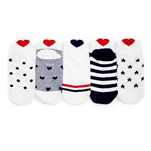 Lifeney 5 Paar Baumwolle Sneaker Socken Damen I Bunte Socken I Lustige Socken I Damen Socken I Socken Damen 35-38 I Füsslinge Damen I Sportsocken Damen I Füßlinge für Sneaker Damen -