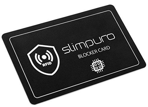 slimpuro RFID Blocker Karte NFC Schutzkarte - Störsender Technologie 2019 | Eine Karte schützt | Nur 1,0 mm dünn | Keine Schutzhüllen mehr | 100% Schutz Dank E-Field | Kreditkarte Schutz EC Karte