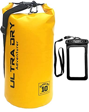 Premium Waterproof Bag, Sack with phone dry bag and long adjustable Shoulder Strap Included, Perfect for Kayaking / Boating / Canoeing / Fishing / Rafting / Swimming / Camping / Snowboarding (yellow 10 L) (Sein Sack)