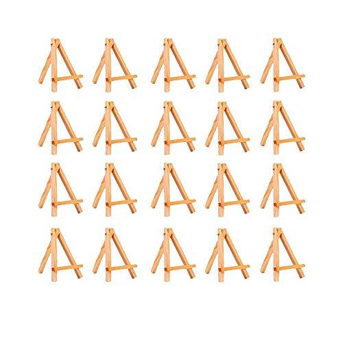 Amasawa 20x Mini Chevalet Trépied en Bois,Chevalet d'artiste 16 x 9cm Support Photo Carte,Mini Chevalet pour la Peinture Et Les Projets Créatifs