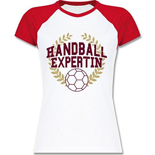 Handball - Handballexpertin - zweifarbiges Baseballshirt / Raglan T-Shirt für Damen Weiß/Rot