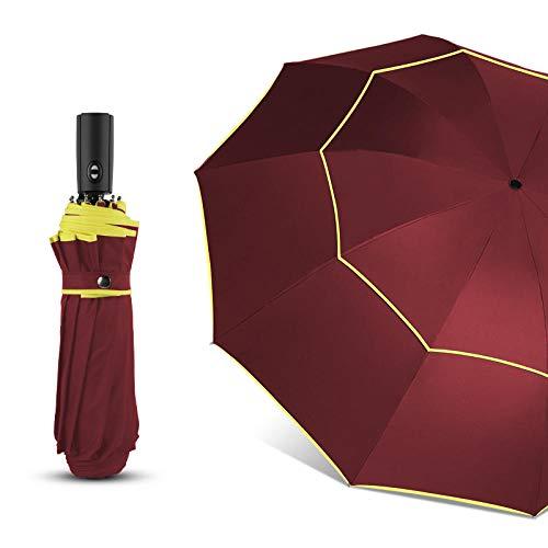 GO-AHEAD Taschenschirm,120 cm Vollautomatische Doppel Großen Regenschirm Regen Frauen 3 Falten Wind Beständig Großen Regenschirm Stehen Reisegeschäft Regenschirm Männer @ Rot