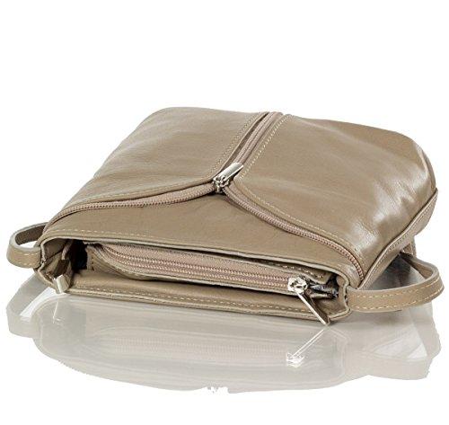 Kleine Umhängetasche - Abendtasche aus weichem Nappa Leder (19 x 18,5 x 7 cm), Farben:Braun (Taupe) Braun (Taupe)