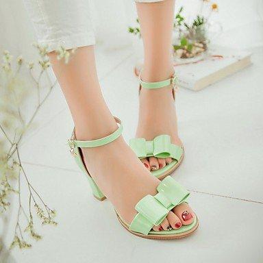LvYuan Da donna Sandali Finta pelle PU (Poliuretano) Estate Autunno Footing Fiocco Quadrato Bianco Argento Verde Rosa 5 - 7 cm Green