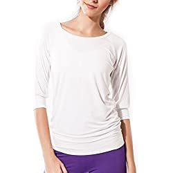 Sternitz Camisa Fitness para mujer, Ananda de, ideal para hacer pilates, yoga y cualquier deporte, tela de bambú, ecológica y suave. Cuello redondo. Manga 3/4. (M, Blanco)