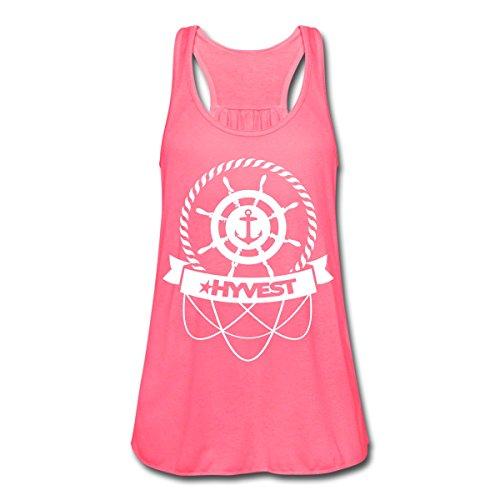 Spreadshirt HVST Royal Wheel Frauen Tank Top von Bella, L, Neonpink (Mädchen Tank Bella Top)