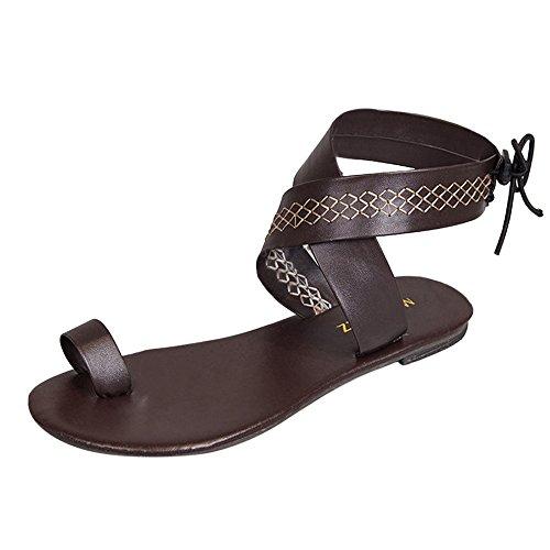 Riemchen-krawatten (Btruely Damen Sandalen Böhmen Krawatte Geschnürt Gladiator Sandalen Flach Riemchen Sommer Schuhe Groß Größe Zipper Elegante Strandschuhe)