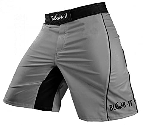 Fight Shorts by Blok-iT – These Boxing and MMA Shorts are Competition Grade, Yet Flexible and Comfortable for Everyday Training – Great for all Martial Arts, Surfing, and Skateboarding (Gray,