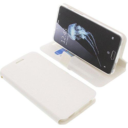 foto-kontor Tasche für Alcatel Flash Plus 2 Book Style weiß Schutz Hülle Buch