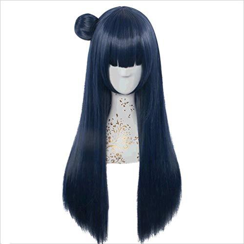 Lange gerade Perücke, Love Live! Sunshine !! (Tsushima Yoshiko) Anime Cosplay, Synthetische dunkelblaue Haarperücken, Keine Spitze, Neue Mode Kostüm Kostüm Karneval Party Half Hand Tied 71 cm (Dunkelblaue Kostüm Perücke)