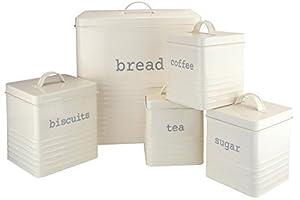 Ehc Set of 5 Rectangular Kitchen Storage, Cream ( Set Includes - Tea,Sugar,Coffee,Biscuit & Bread Bin)