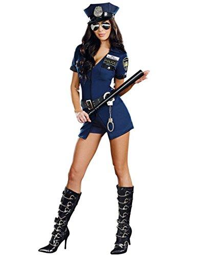 Officer Police Uniform (Bestgift Women'sExotic Lingerie Police Cop Uniform CostumeInclude)