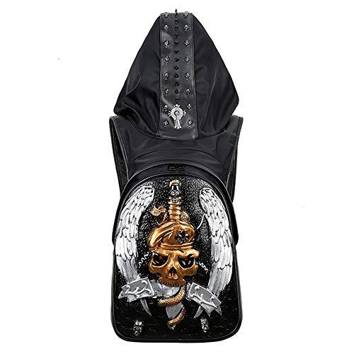Insone 3D Schädel Rucksack Niet Punk Kleidung Tasche Schwarz Metall Rucksack für Teenager mit Hut Jungen Mädchen Rucksack Schulrucksack,silverskull