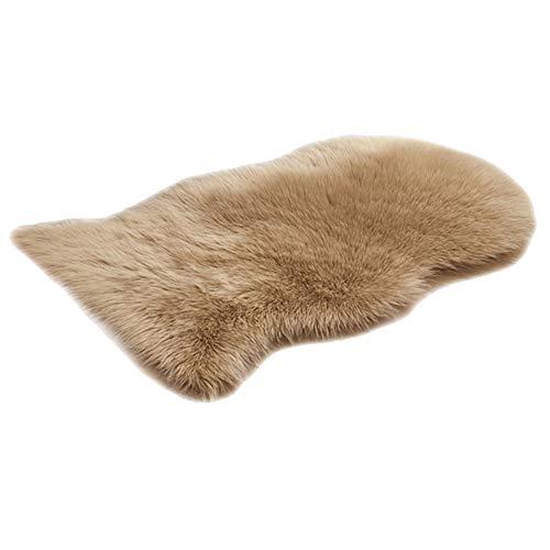 HotYou Künstlicher Nachahmung Lammfell Sofa Teppich, Lammfellimitat Teppich Longhair Fell Optik Nachahmung Wolle Bettvorleger Sofa Matte,Khaki,60 * 120CM