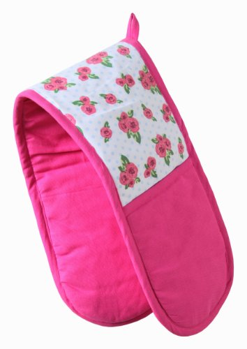 Homescapes Doppelter Ofenhandschuh English Roses, rosa pink weiß ca. 18 x 84 cm, Topfhandschuh doppelt aus 100{b4912331622b71ad66543ec5571fabf464e75b056b52b2b19750735eb7663dcb} reiner Baumwolle mit Polyesterfüllung, waschbarer Doppel-Ofenhandschuh