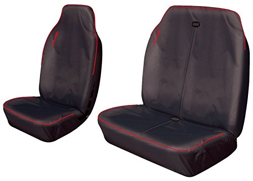 XtremeAuto® WLW2 - XAhdVANseatCOVERS Heavy Duty, Waterproof Van Seat Covers Set. Black With Red Trim.