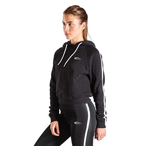 SMILODOX Damen Crop Kapuzenpullover Luma| Sweater für Sport Fitness & Freizeit | Longsleeve | Langarmshirt | Trainingsshirt Langarm - Pullover - Sportshirt, Farbe:Schwarz, Größe:S