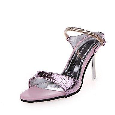 LFNLYX Donna tacchi Comfort estivo PU Casual Stiletto Heel fibbia Rosa Bianco Argento a piedi White