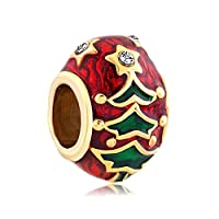 New Christmas Jewelry Gifts Tree Faberge Egg Style Charms Beads fit Bracelet