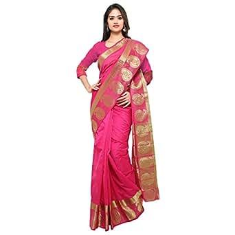 Oomph! Women's Art Silk Saree with Blouse Piece (rbks_Fuscia_Free Size)