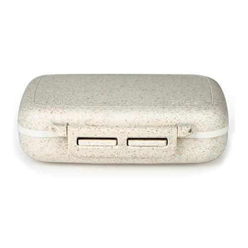 HJJ888 Caja de Almacenamiento , Recipiente para Viaje portátil Caja Impermeable de Fibra Natural Contenedor de Almacenamiento de vitaminas con 6 Compartimentos para Aceite de Pescado