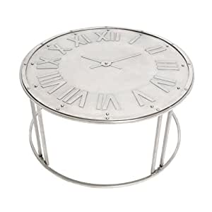 premier housewares 2403816 aviator horloge table basse argent antique cuisine maison. Black Bedroom Furniture Sets. Home Design Ideas