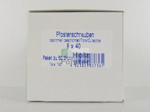 RE-SCHRAUB Torx Pfostenschrauben, dacromatbeschichtet, 8x40mm, 50 Stück